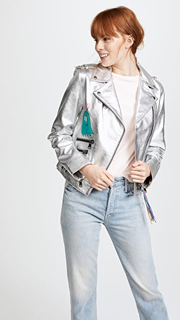 Mira Mikati Hand Painted Metallic Leather Jacket