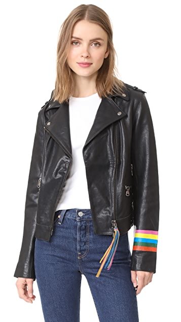 Mira Mikati Fox Leather Jacket