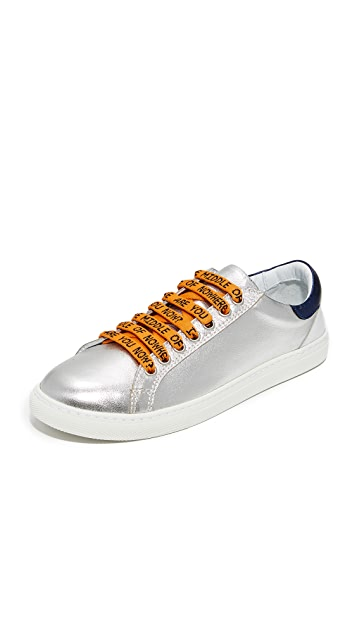 Mira Mikati Monster Print Heel Metallic Sneakers