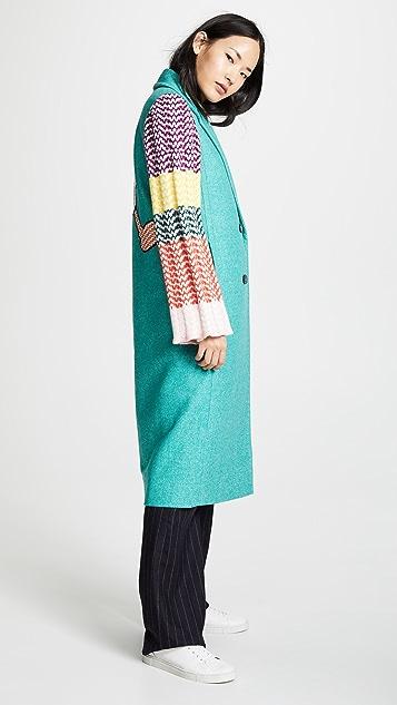 Mira Mikati Combo Plaid Double-Breasted Coat