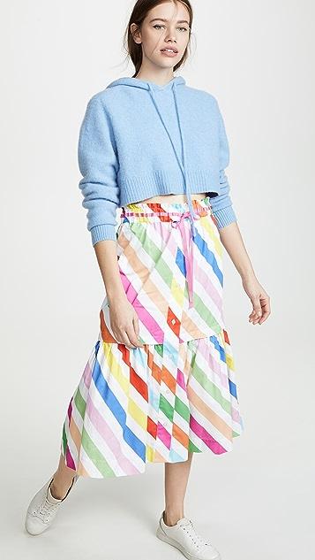 Mira Mikati Diagonal Stripe Midi Skirt
