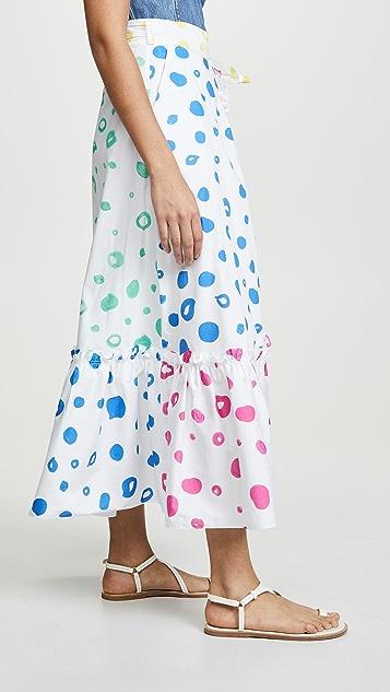 Mira Mikati Contrast Polka-Dot Skirt