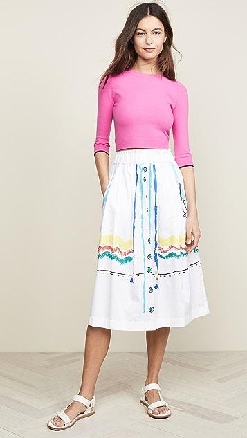 Mira Mikati Rainbow Trim Midi Skirt