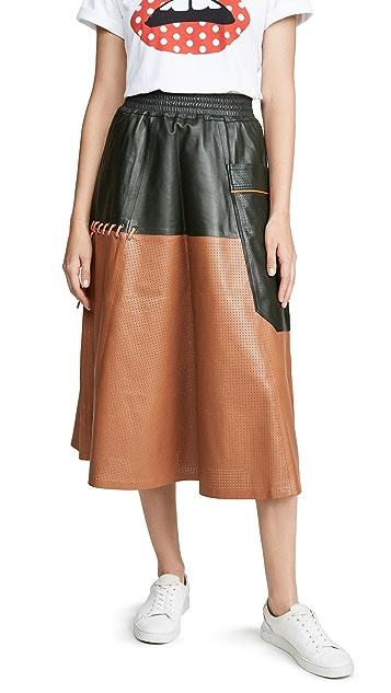 Mira Mikati Perforated Leather Skirt