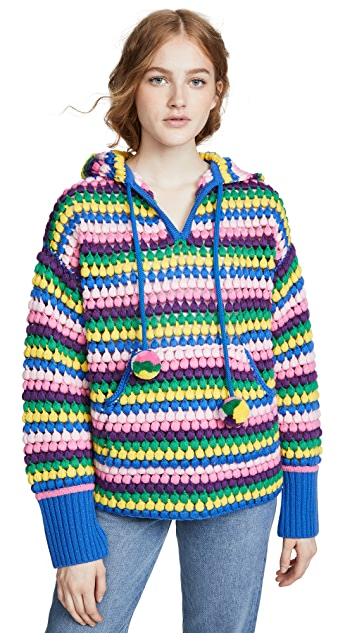Mira Mikati 羊毛条纹连帽上衣