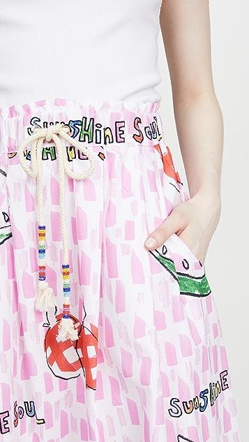 Mira Mikati Юбка с завязками на талии и принтом в виде арбузов и яблок