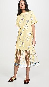 Floral Print Fringe Beaded T-Shirt Dress