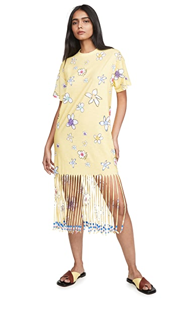 Mira Mikati Floral Print Fringe Beaded T-Shirt Dress