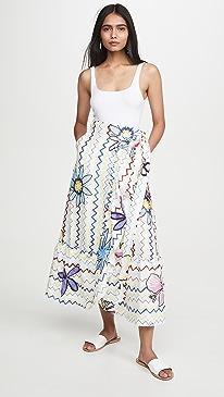 Zigzag Flowers Wrap Skirt