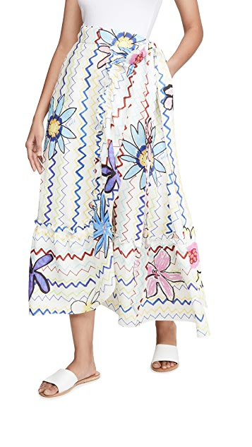 Mira Mikati Zigzag Flowers Wrap Skirt