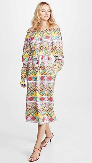 Mira Mikati Ribbon Print Open Neck Shirt Dress