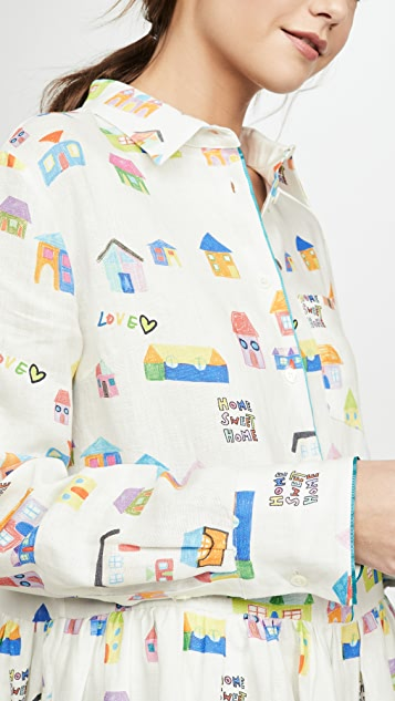 Mira Mikati Houses Print Long Sleeve Shirt Dress