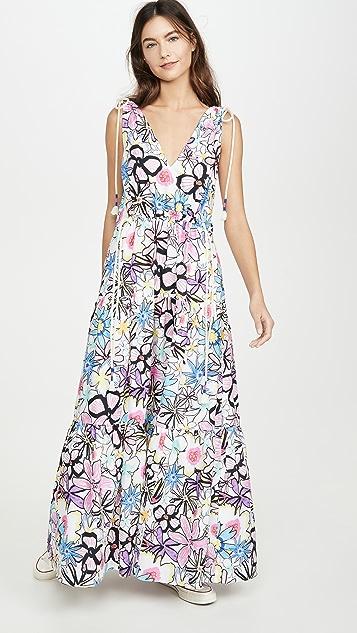 Mira Mikati Многоуровневое платье Bold Lines с V-образным вырезом и цветочным принтом