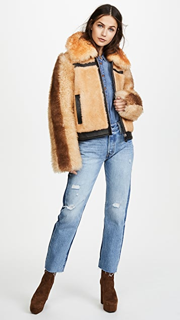 Coach 1941 Pieced Shearling Bomber Jacket
