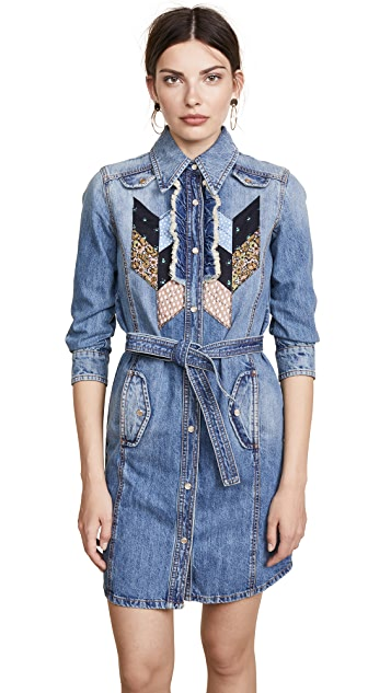 Coach 1941 Quilted Patchwork Denim Shirtdress