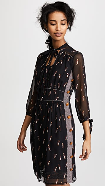 Coach 1941 Penguin Tie Neck Dress