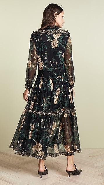 Coach 1941 Rose Print Tiered Dress