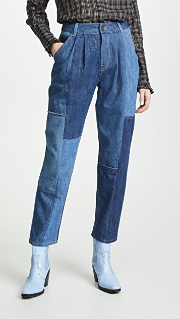 Denim Patchwork Pleated Trousers by Coach 1941