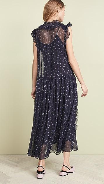Coach 1941 Rose Print Pleated Dress