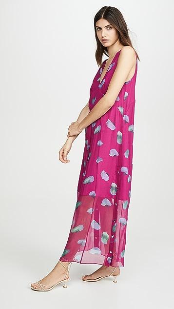 Coach 1941 Sleeveless Stylized Floral  V Neck Dress