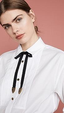 Poplin Pleated Bib Shirt