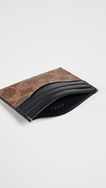 Coach New York Card Case in Signature Coated Canvas