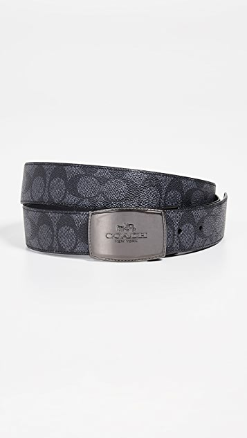Coach New York Reversible Stitched Plaque Signature Belt