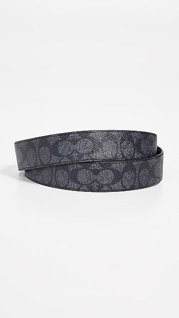 Coach New York Reversible Stitched Plaque Signature Belt