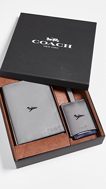 Coach New York Boxed Passport Case and Luggage Tag
