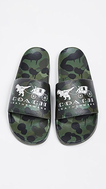 Coach New York Rexy and Carriage Wild Beast Pool Slides