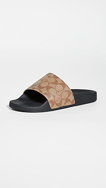 Coach New York Signature Coated Canvas Pool Slide Sandals