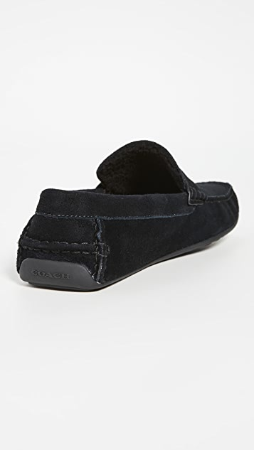 Coach New York Faux Shearling Slippers