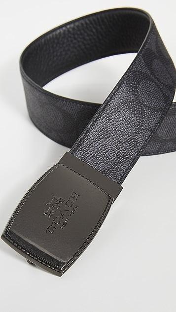 Coach New York Stitched Plaque Reversible Signature Belt