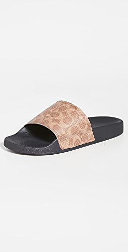 Coach New York - Signature Coated Canvas Pool Slides