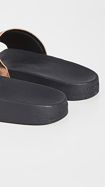 Coach New York Signature Coated Canvas Pool Slides