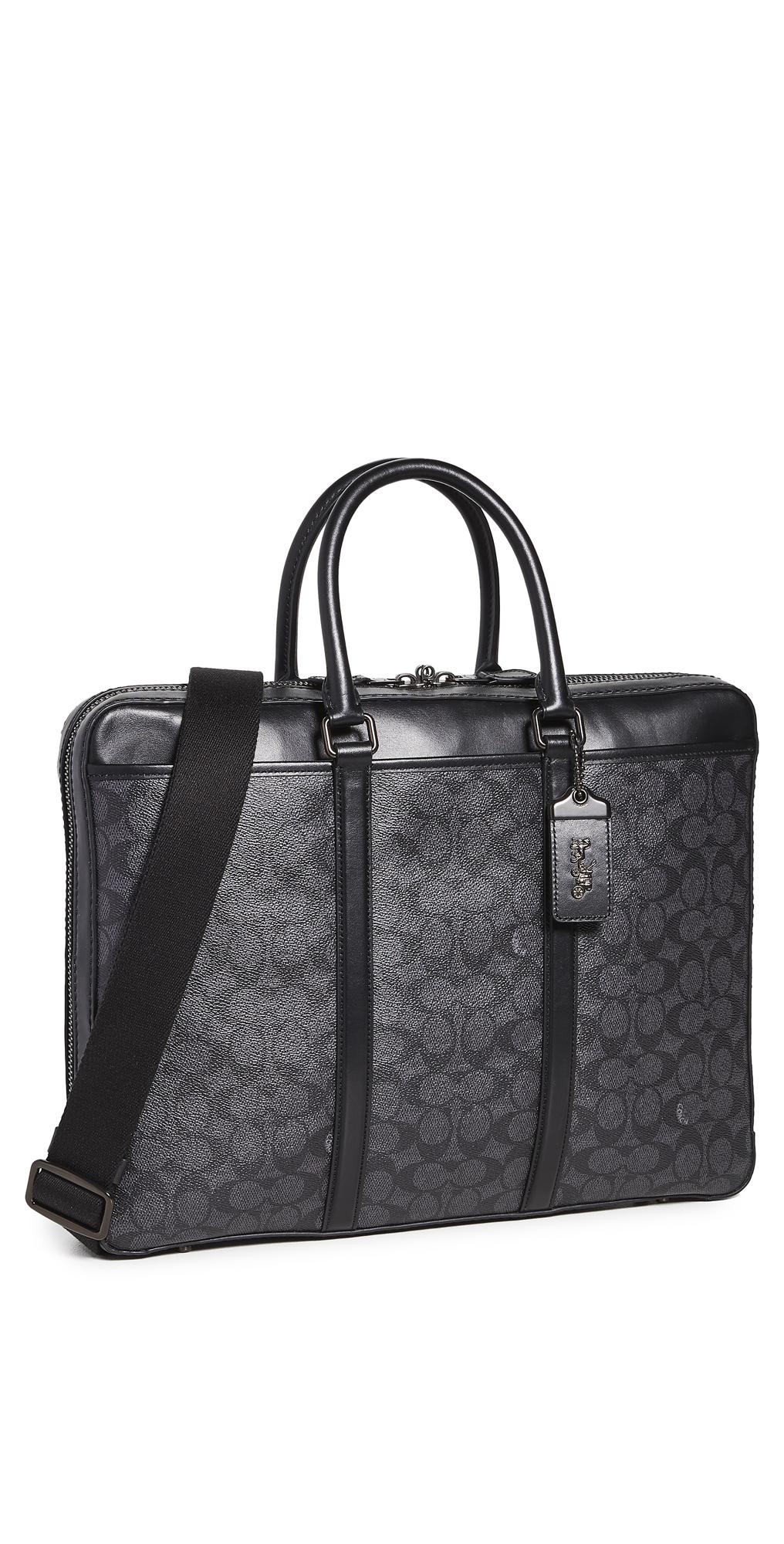 Coach Signature Metropolitan Slim Briefcase In Black