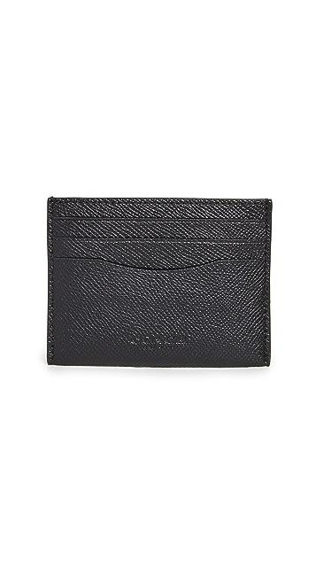 Coach New York Flat Card Case in Cross Grain Leather
