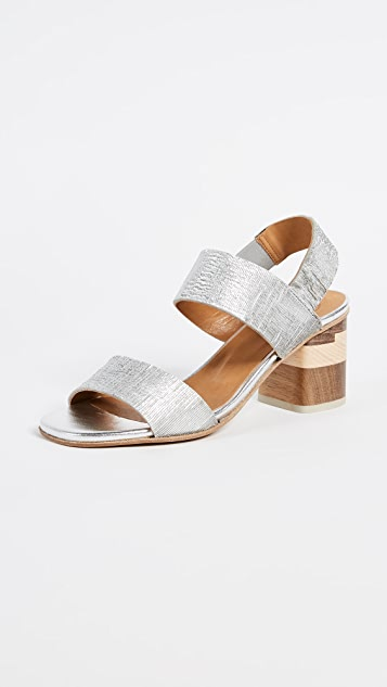 Coclico Shoes Bask Block Heel Sandals - Ombra Silver