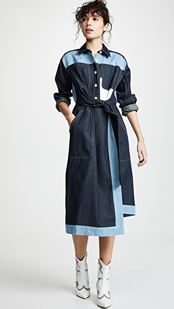Colovos Belted Two Tone Shirtdress