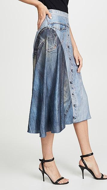 Colovos Silk Denim Skirt