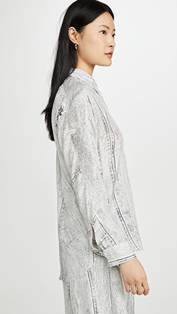 Colovos Seamed Denim Print Shirt