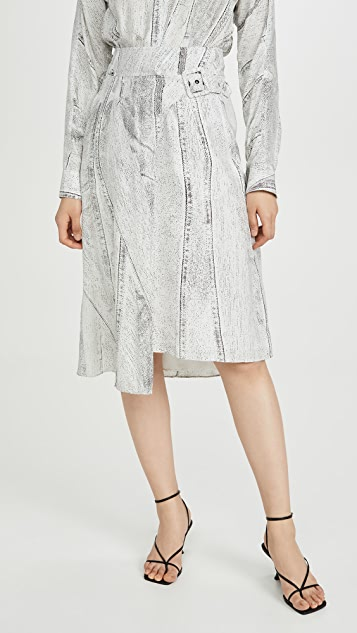 Colovos Seamed Denim Print Side Buckle Skirt