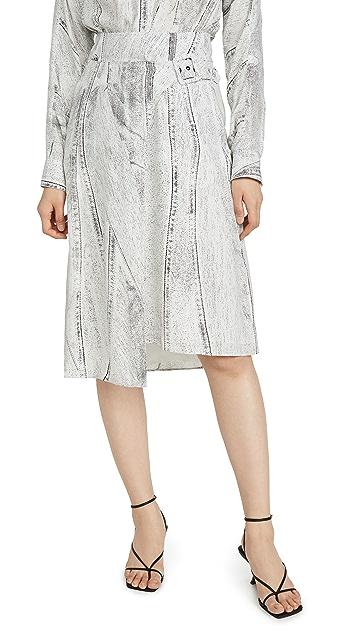 Colovos 接缝牛仔布印花侧边搭扣半身裙