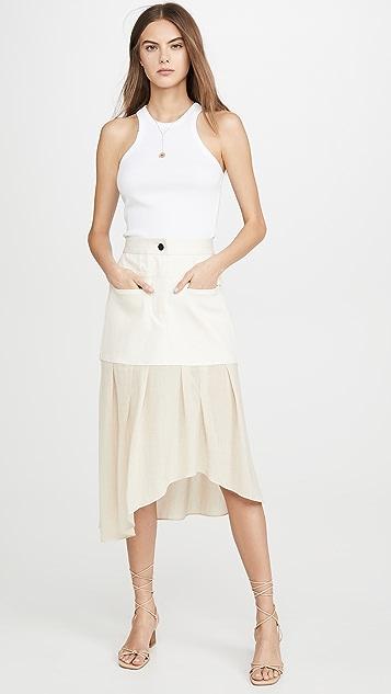 Colovos 牛仔布拼接不对称半身裙