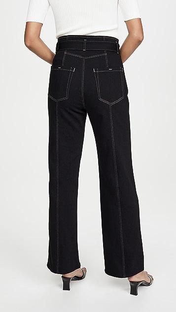 Colovos 接缝裤筒搭扣牛仔裤