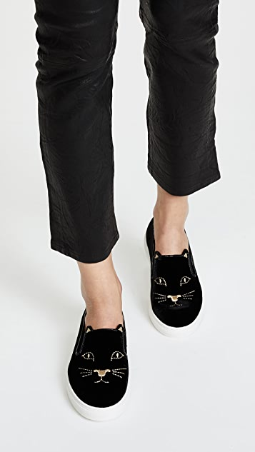 Charlotte Olympia Cool Cats embroidered velvet slip-on trainers Buy Cheap Real C7BVgeoI