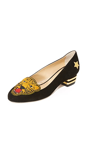 Charlotte Olympia Woman Printed Canvas Slip-on Sneakers Black Size 36.5 Charlotte Olympia 17BNqR