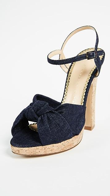 Charlotte Olympia Farrah Metallic Leather Platform Sandals Gr. IT 37 baCEjTYlO