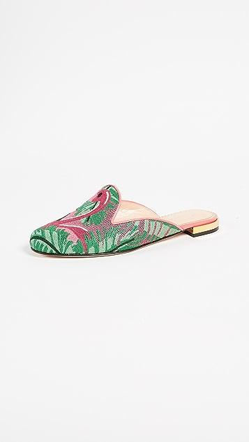 Charlotte Olympia Flamingo Slipper Mules