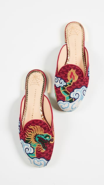 Charlotte Olympia Dragon Slipper Mules